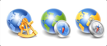 Globe Icons - Blue Earth and Compass