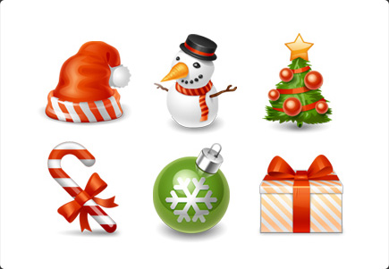 Christmas Icons - Snowman, Christmas tree, Christmas gift, Red Father Christmas Hat, Christmas Ball