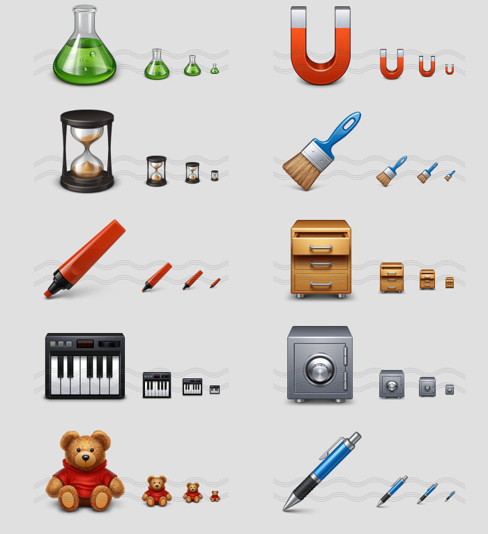 icons - flask, magnet, sand glass, brush, marker, drawer, midi, safe, teddy bear, pen