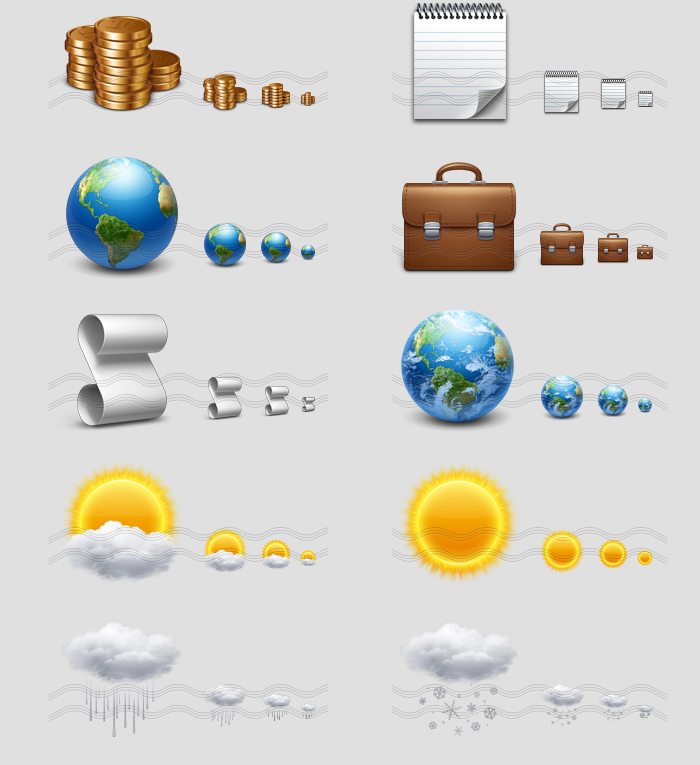 icons - gold coins, notebook, earth, briefcase bag, script, earth clouds, sun cloud, sun, rain cloud, snow cloud