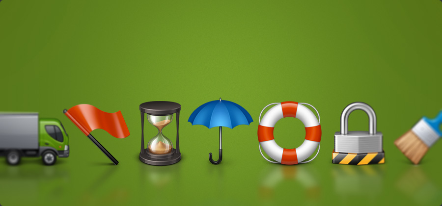Royalty-free icons - red flag, megaphone, blue umbrella, broom, life belt, recycle bin